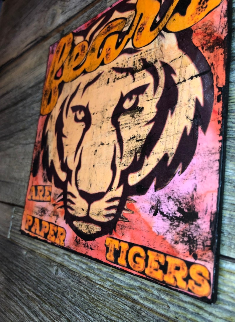 Fears Are Paper Tigers Quote Mixed Media Mini Canvas Art