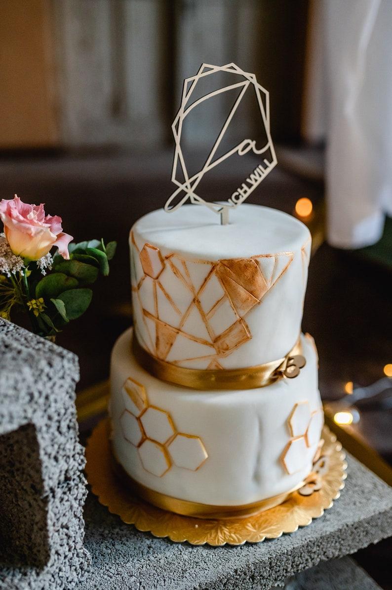 Cake Topper Holz Schriftzug geometrisch