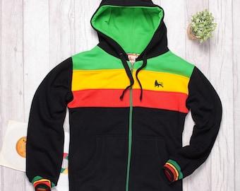 Rasta Reggae Zip Hoodie | Rootswear by Dub Lion