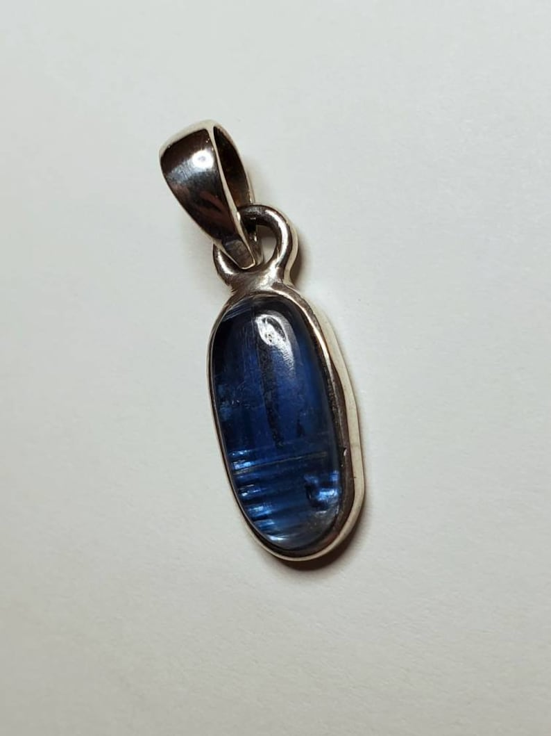 Crystal Necklace Jewelry with Intention Blue Kyanite and Sterling Silver Pendant