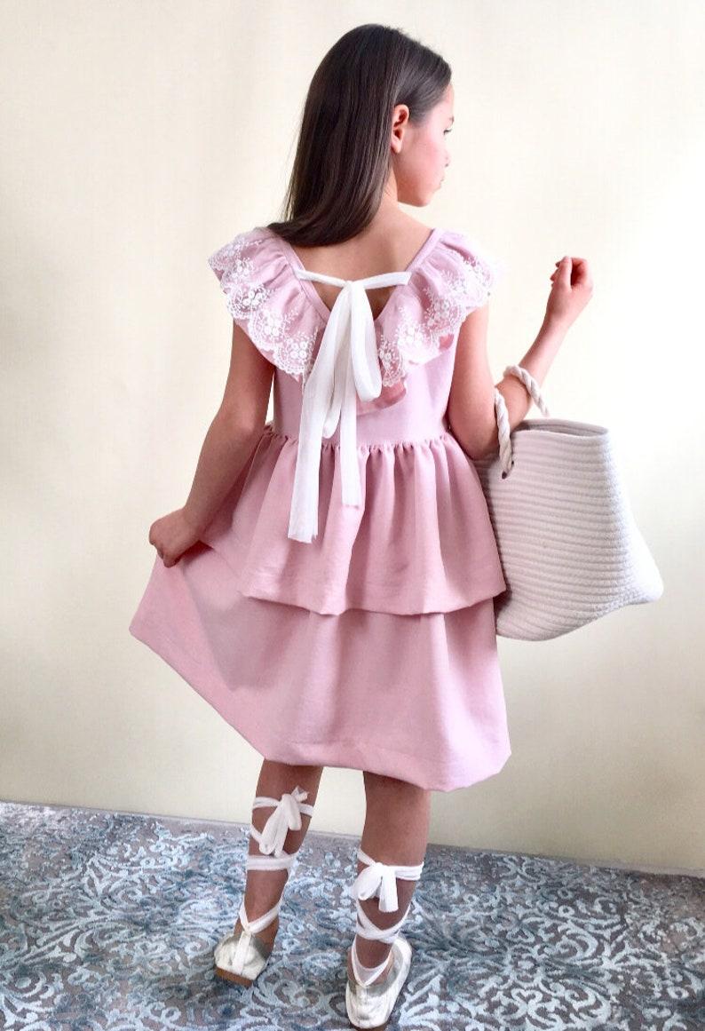 e871d9fdaa Sukienka różowa z koronką dla dzieci. Pink dress for