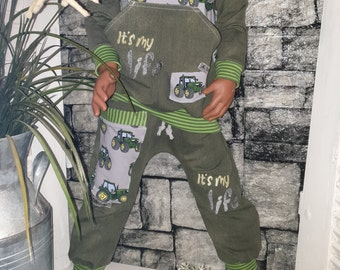 Baggypant pants tractor gr.86-128 handmade zip-up charm embroidered outfit pump pants kids boys girls