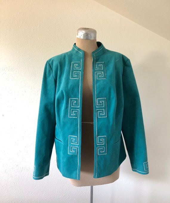 1980's Turquoise Suede Blazer