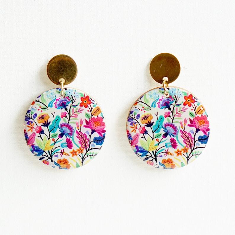 Gifts for Her Boho Earrings Retro Mosaic Gold Ring Earrings Modern Earrings Hip Jewelry Fun Earrings