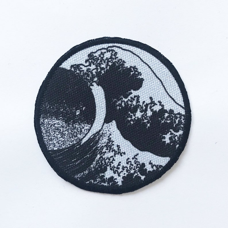 photo regarding Printable Iron on Patches called Eastern Ideal Wave Patch Published Iron Upon Patches Black White Print  Patches for Hat Backpack Jacket Blouse Items 3.25\