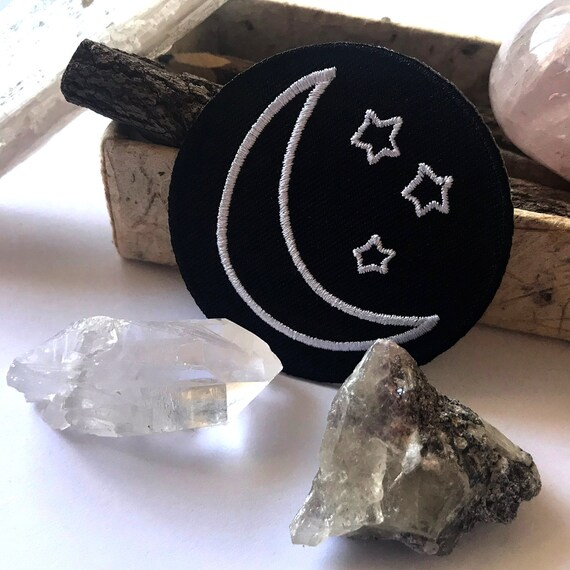 Celestial Iron On Patches | Moon Stars Embroidered Patch | Magic Crescent |  Hat Backpack Jacket Gift Idea | Original Espi Lane Patch | 2 5
