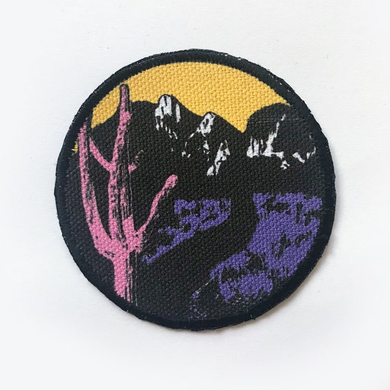 image about Printable Iron on Patches identified as Vaporwave Desert Patch Posted Iron Upon Patches Cactus Print Patches for Hat Backpack Jacket Blouse or Items 3\
