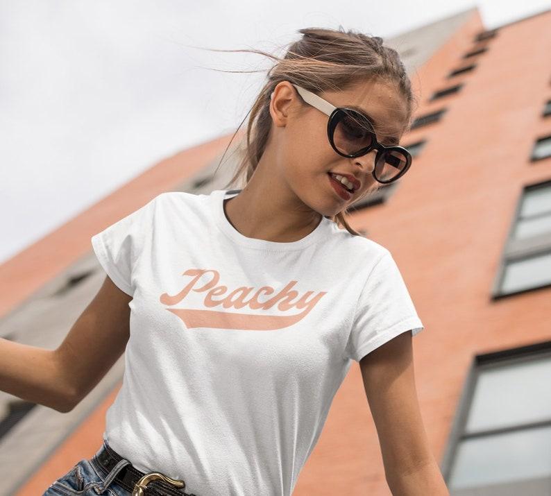 2aa133a2bae7 Peachy Vintage Retro Shirt Graphic Peach Tee 70s 1970s   Etsy