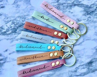 Bridesmaid keychain, leatherette keychain, bridesmaid proposal, maid of honor gift , bridesmaid gift, bridesmaid box idea