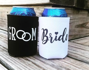 Bride and Groom wedding can coolers, bride and groom drink covers