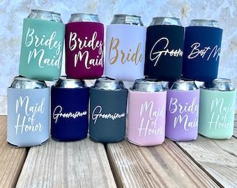 wedding can coolers, maid of honor gift, bridesmaid gift item, groomsman gift, usher gift, wedding party gifts, wedding ideas, maid of honor