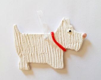 Scottie dog porcelain paper clay Christmas tree decoration