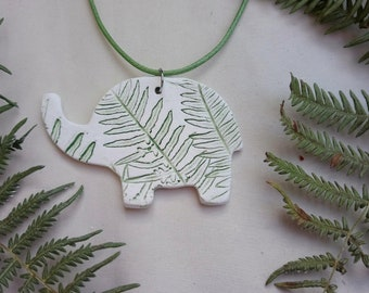Ceramic Elephant, porcelain paper clay necklace, pendant with decorative fern imprint