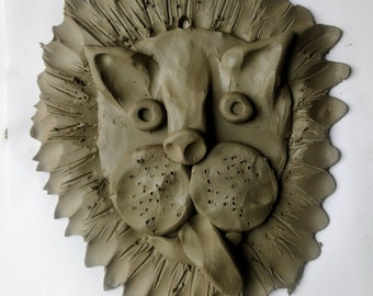 Inclusive lion home pottery kit, DIY craft at home, takeaway clay fun