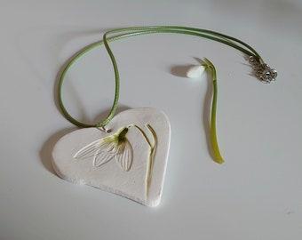 Ceramic snowdrop, botanical, porcelain paper clay necklace, pendant
