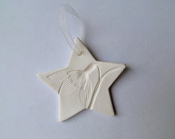 Snowdrop star porcelain paper clay Christmas decoration