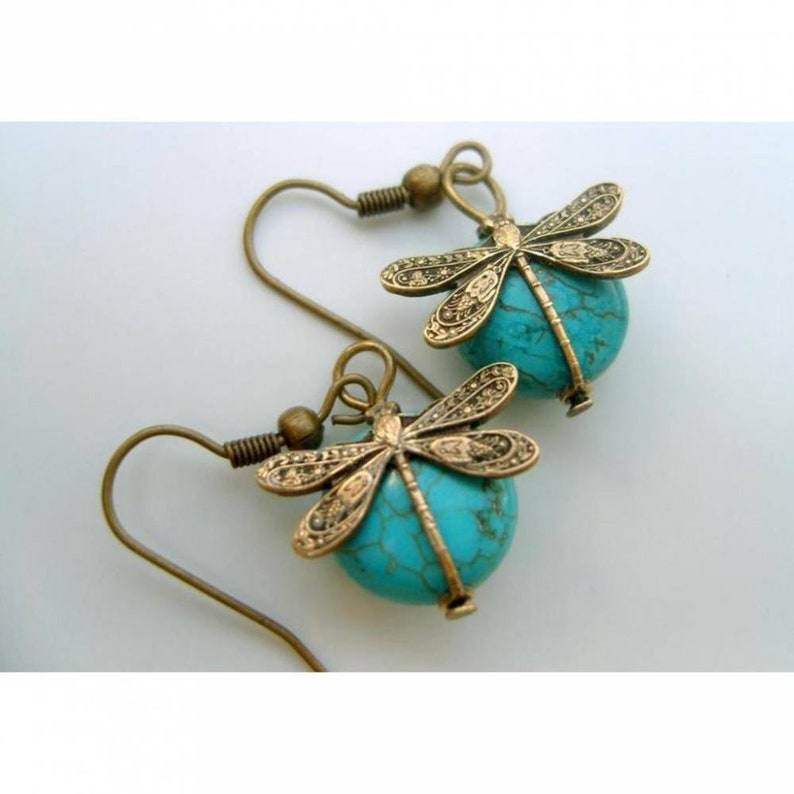 Ohrings  Dragonfly on turquoise image 0