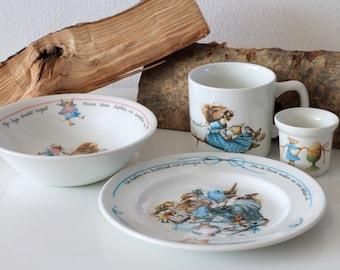 RARE Vera the Mouse de Muis book Children tableware breakfast set Mug Plate Egg cup Dutch Vintage Illustrations Marjolein Bastin Libelle