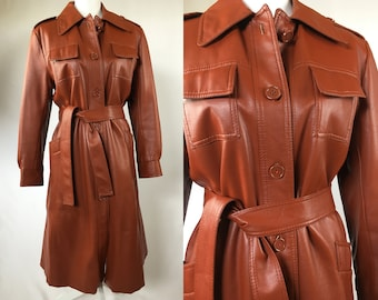 4263201355d Vintage Faux Leather Trench Coat