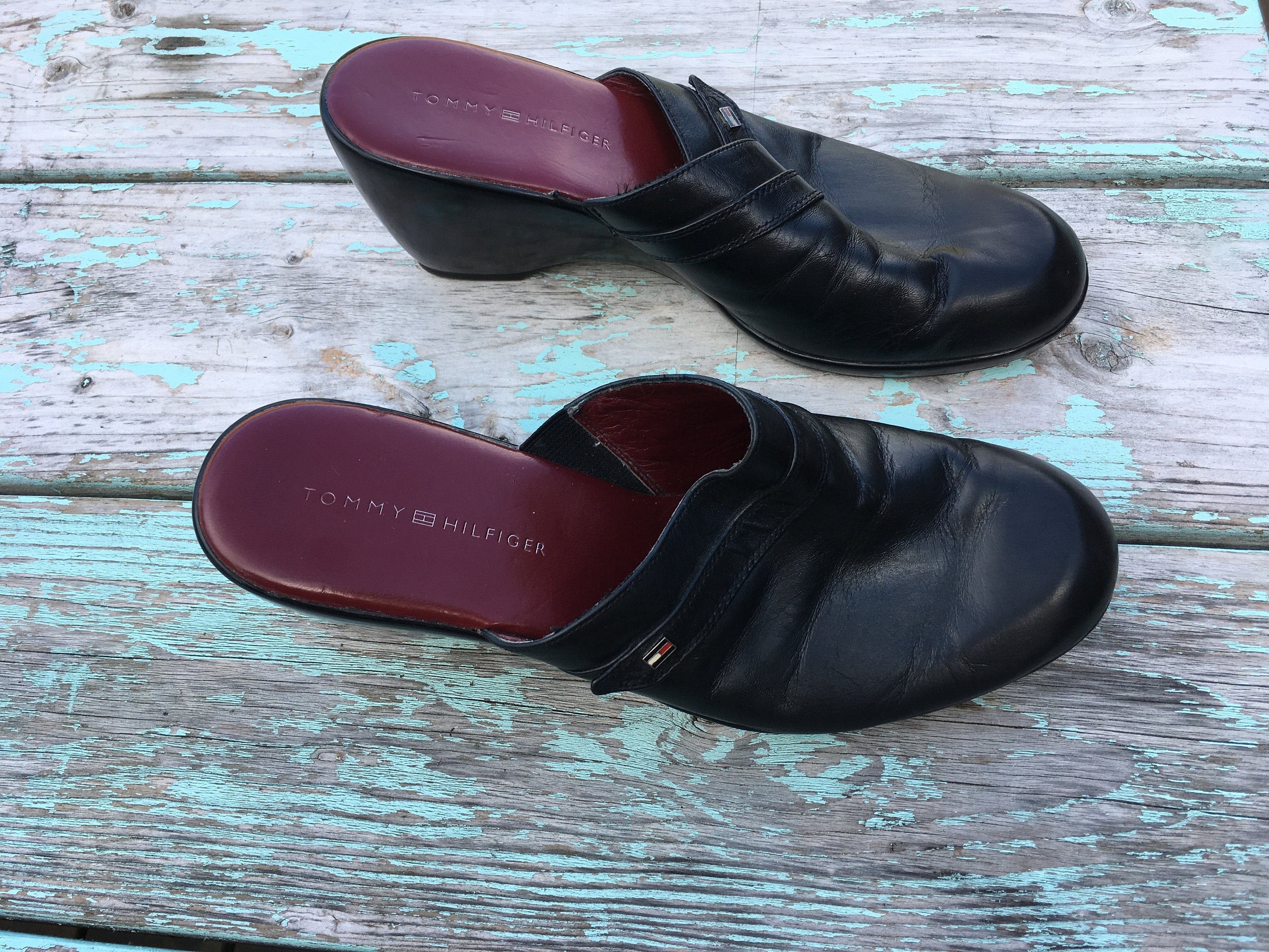 0535a86168f1cb Vintage 90s Tommy Hilfiger Mules Black Leather Slip on Shoes