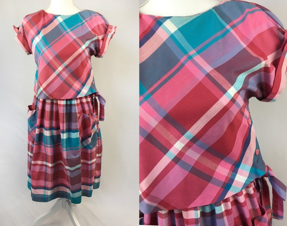 Vintage 60s plaid dress mod pink and blue dress small vintage dress cute summer dress mid calf size S