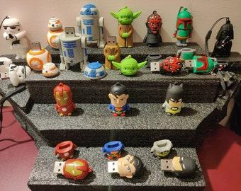 Star Wars USB's 32GB Flash Drive, 32gb, Yoda, Stormtrooper, Darth Vader, Boba Fett, R2D2, Darth Maul, BB8