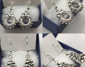 Silver Christmas wreath and jingle bell charms holiday winter dangling hanging handmade earrings