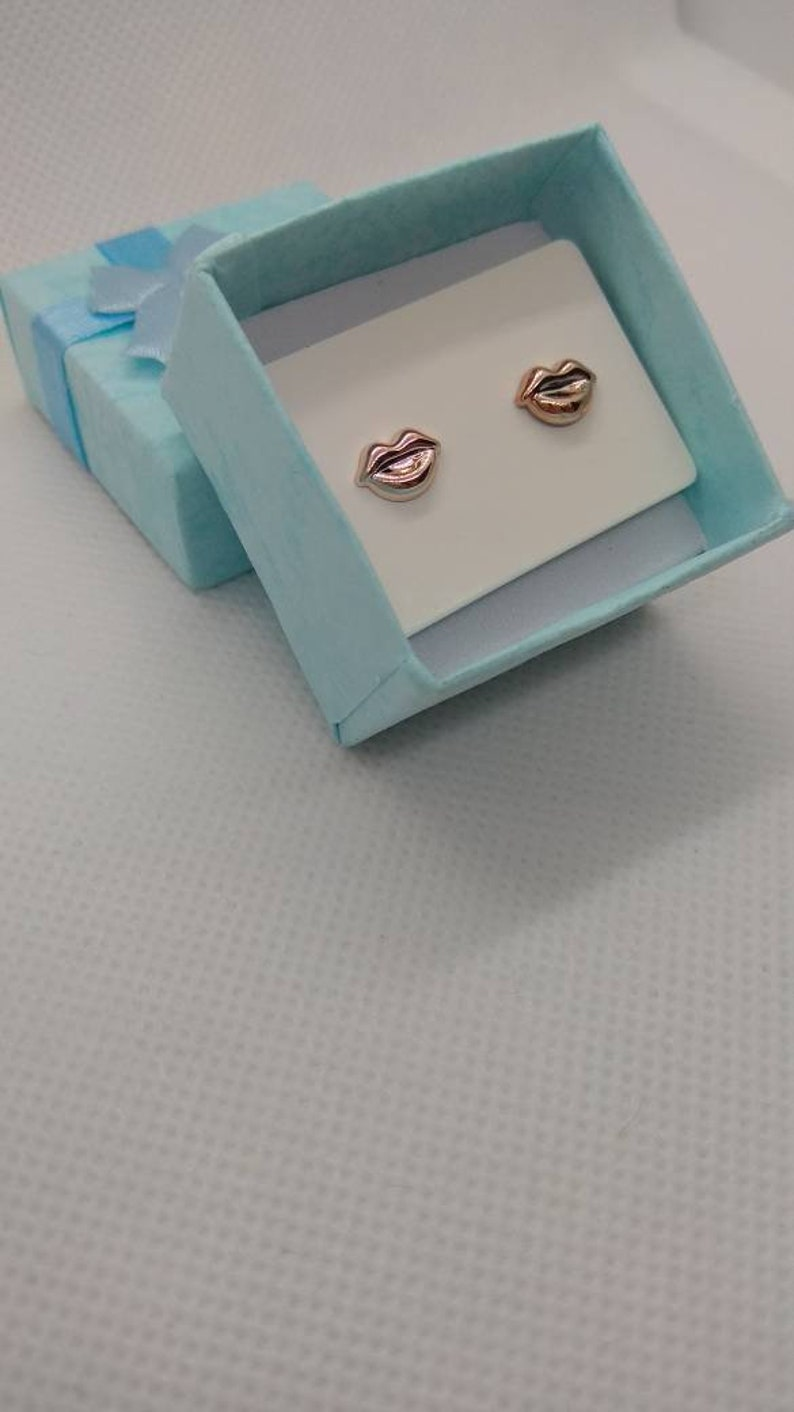 Minimalistic handmade small gold coloured lip mouth stud earrings hypoallergenic studs