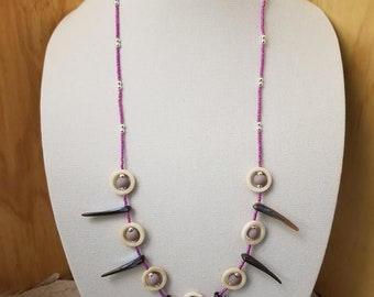 """Abalone Shell and Bone Necklace 18"""" purple glass seed beads with lavender pony beads"""