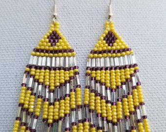 Fringe Earrings yellow purple silver glass beads 3.5 inches in length