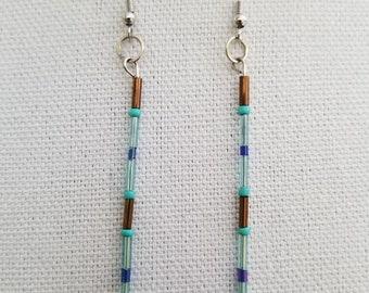 Brown light blue dark blue tube earrings 4 inches in length