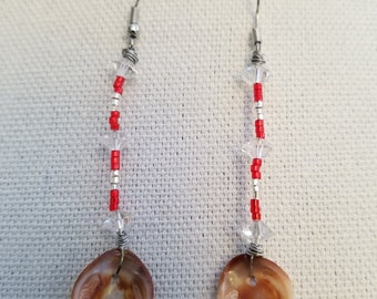 Clear Quartz red glass seed beads with small clam shells earrings