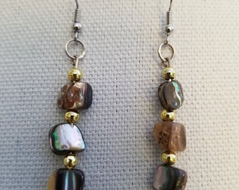 Abalone Shell 3 inch drop length earrings with gold accents