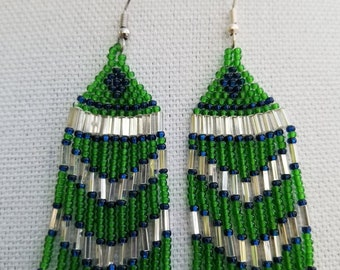 Fringe earrings in blue green glass seed beads 3.5 inches in length
