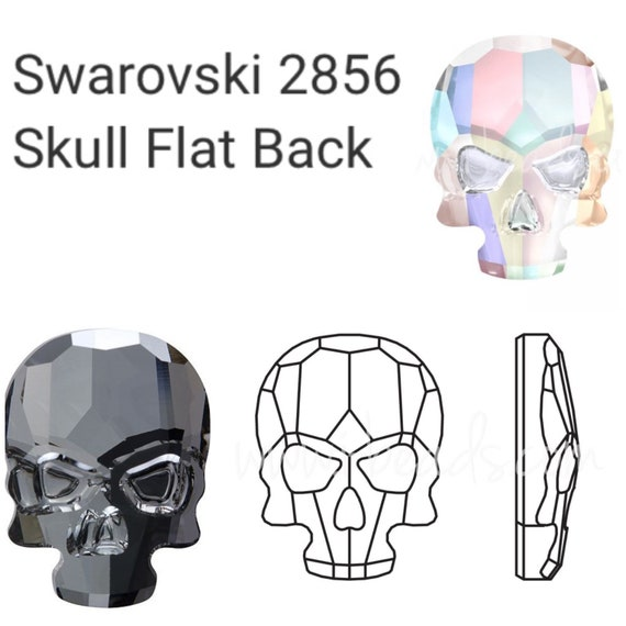 1 Swarovski Faceted Skull Flat Back 14x10mm Rhinestone 2856.