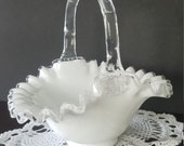 Vintage Fenton Clear White Milk Glass Silver Crest Basket with Ruffled Edge