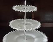 Vintage Fenton Milk Glass 3-Tier Silvercrest Serving Tray