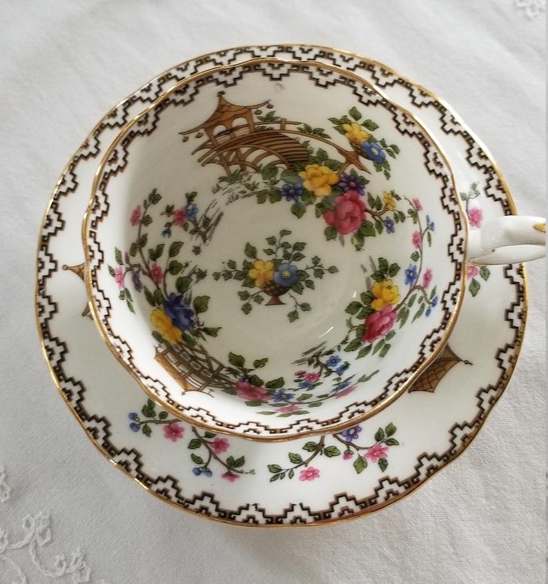Aynsley Pagoda Pattern Tea Cup and Saucer Bone China