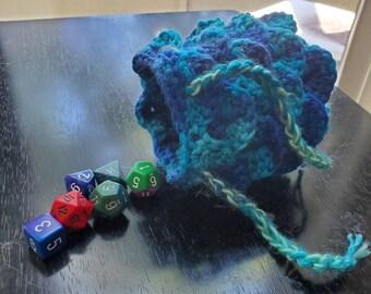 Variegated Blue Dragon Egg Dice Bag