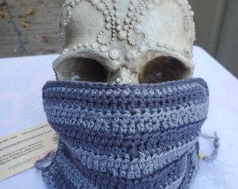 Chameleon Essentials custom crochet adjustable fit mask w/filter pocket - Gray stripes