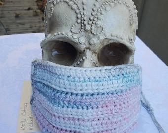 Chameleon Essentials custom crochet adjustable fit mask w/ filter pocket and adjustable fit - Soft pastel / Sage Green Liner