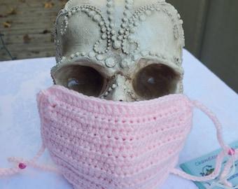 Chameleon Essentials custom crochet adjustable fit mask w/ filter pocket and adjustable fit - Soft Pink