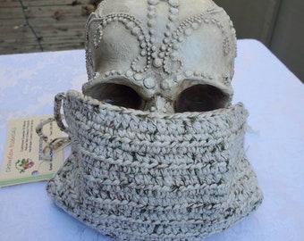 Chameleon Essentials custom crochet adjustable fit mask w/ filter pocket and adjustable fit. Natural colors