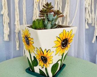 Sunflower Ceramic Planter
