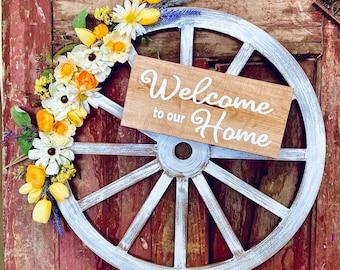 Wooden Wagon Wheel Wreath