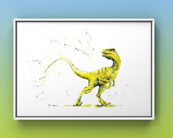 Velociraptor A4 Print, Dinosaur Watercolour Art, Wall Art.