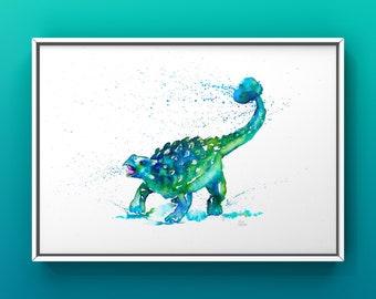 Ankylosaurus Dinosaur A4 Print, Dinosaur Decor, Kids Bedroom Decor, Boys Bedroom, Dinosaur Poster, Dinosaur Gift, Jurassic Park.