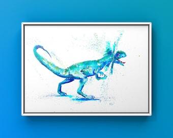 Dilophosaurus Watercolour A4 Print, Dinosaur, Dinosaur Art, Jurassic Park, Kids Bedroom.