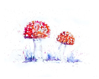 Fly Agaric Toadstool Watercolour Print.