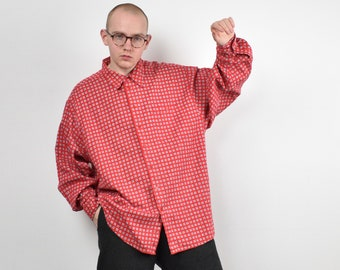 90s work button down Size XL Orange corduroy shirt